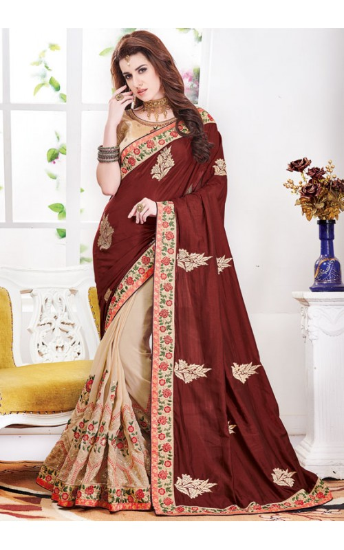 Beige and Brown Embroidered Saree