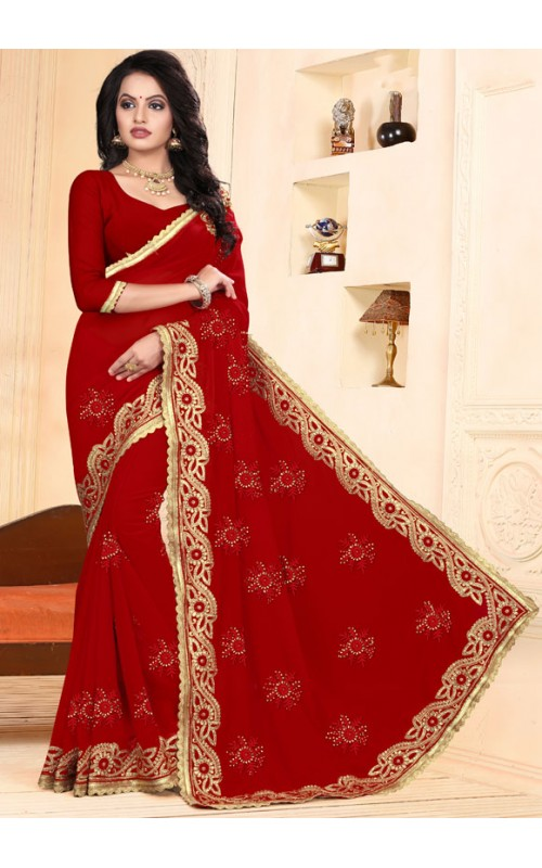 Charming Red Heavy Embroidery Work Saree