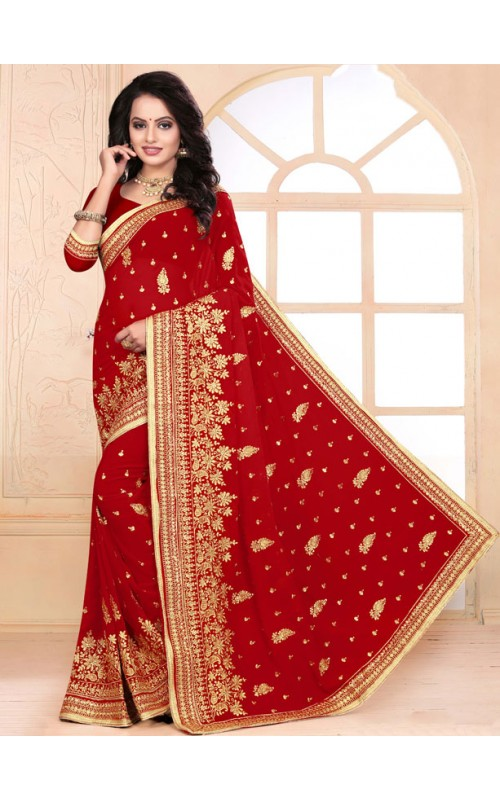 Classic Red Heavy Embroidery Work Saree