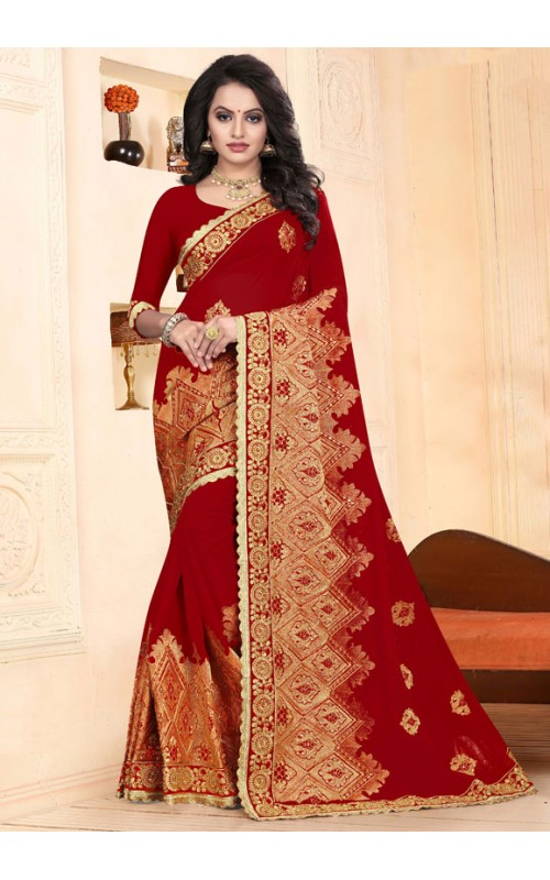 Decorous Red Heavy Embroidery Work Saree