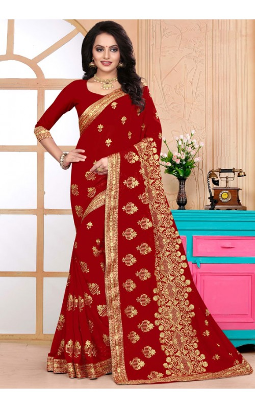 Delightful Red Heavy Embroidery Work Saree