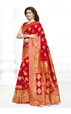 Attractive Red Jacquard Silk Saree
