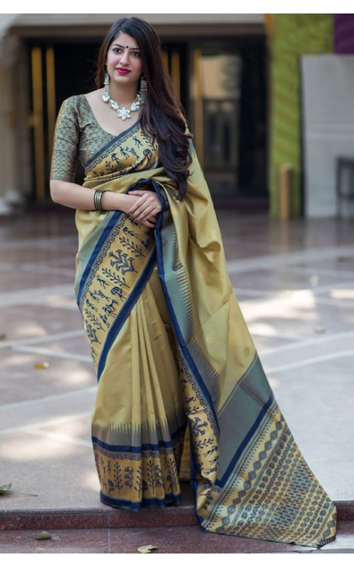 Beige and Grey Banarasi Silk Weaving Work Saree