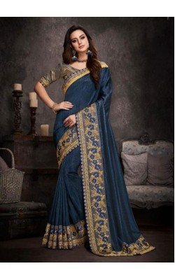 Blue Embroidered Silk Saree