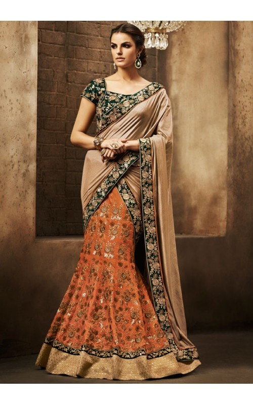 Amazing Orange and Cream Lehenga Style Saree