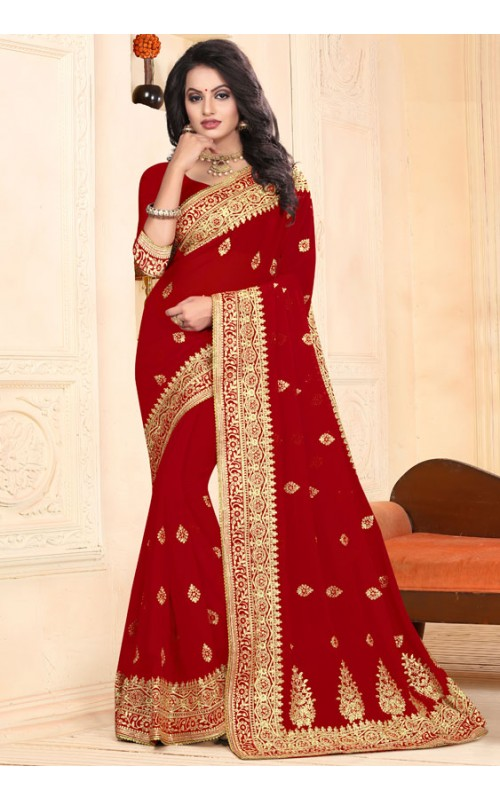 Amazing Red Heavy Embroidery Work Saree