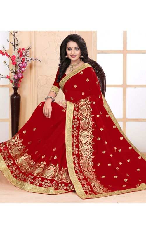 Attractive Red Heavy Embroidery Work Saree