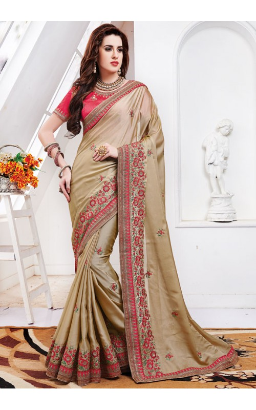 Beige Hand Embroidered Silk Saree