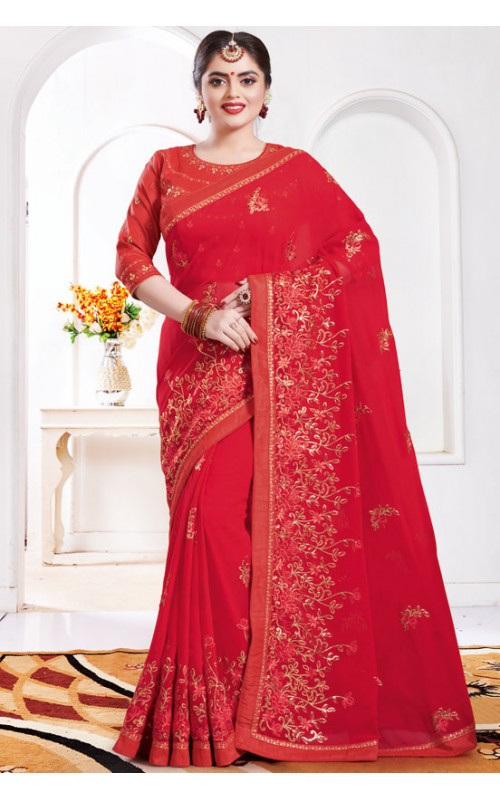 Bright Red Georgette Embroidered Saree