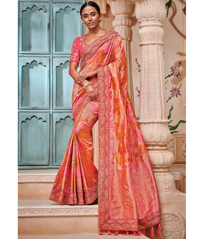 9e289499117 Coral Peach Heavy Banarasi Silk Saree with Embroidery Work