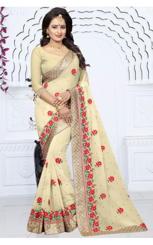 Cream Blooming Georgette Embroidery Work Saree
