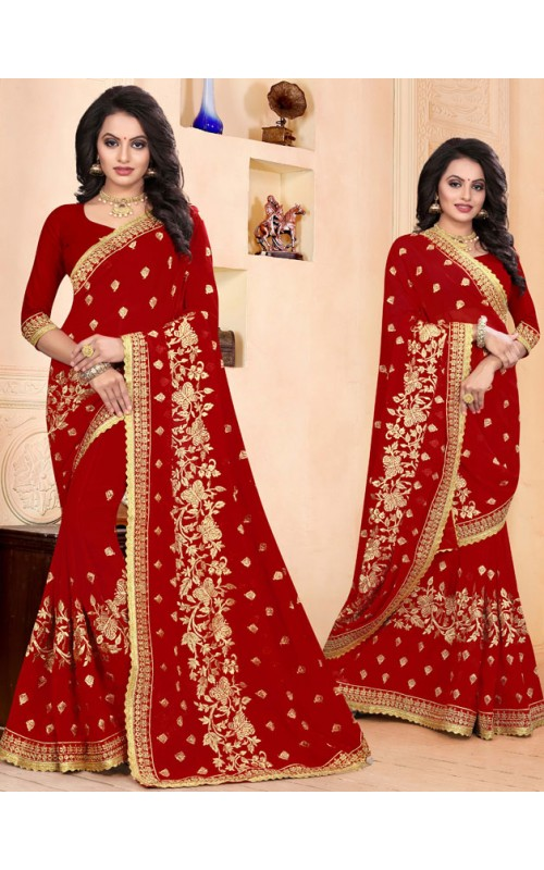 Elegant Red Heavy Embroidery Work Saree