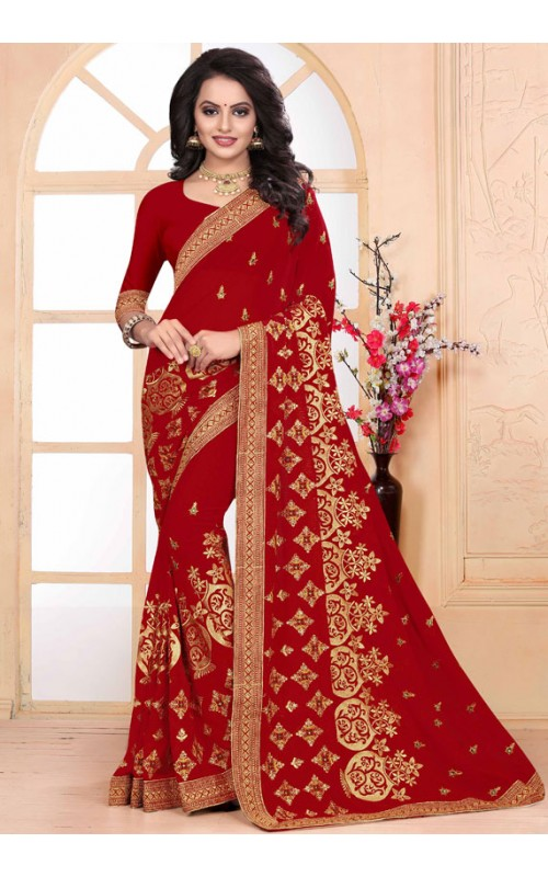 Exclusive Red Heavy Embroidery Work Saree