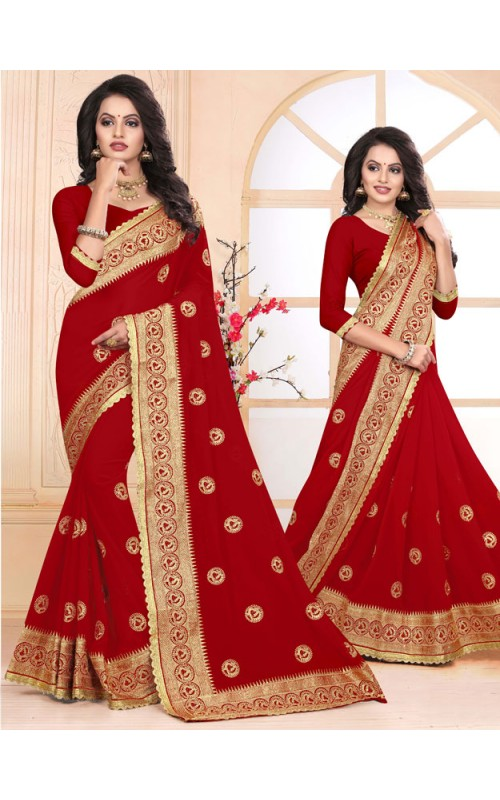 Fabulous Red Heavy Embroidery Work Saree