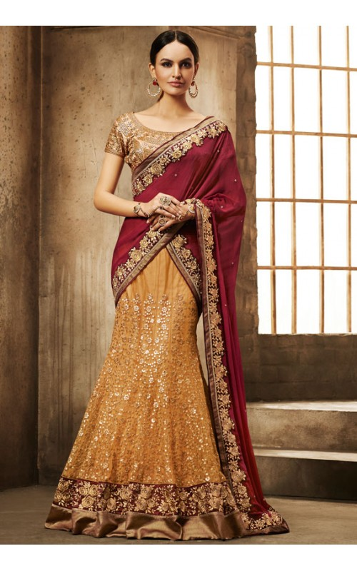 Gorgeous Yellow and Maroon Lehenga Style Saree