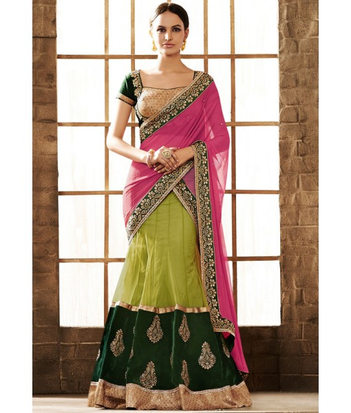 Latest Green and Pink Lehenga Style Saree