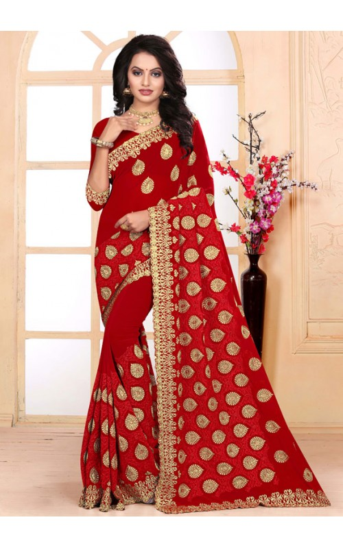 Magnificent Red Heavy Embroidery Work Saree