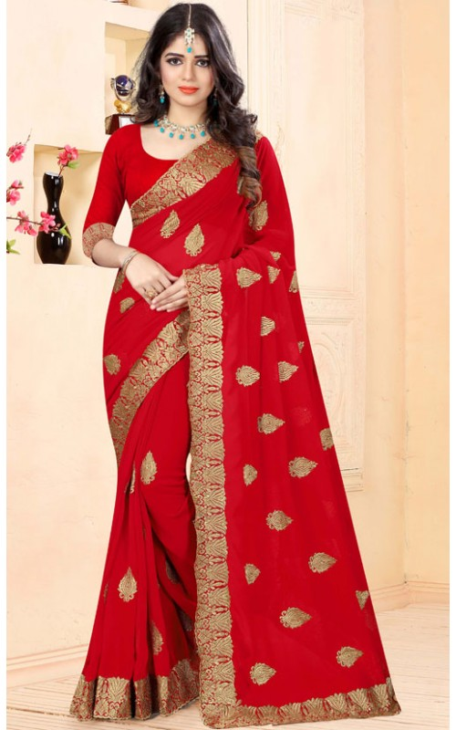 Majestic Red Heavy Embroidery Work Saree