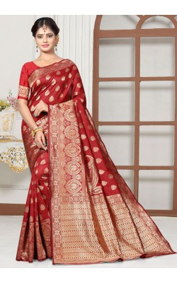 Attractive Red Art Silk Saree