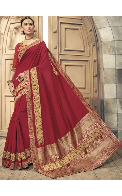 Attractive Red Soft Silk Saree