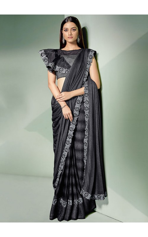 Beautiful Black and Silver Designer Ready to Wear Lycra Saree