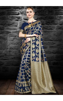 Beautiful Blue Kanjivaram Silk Saree