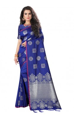 Beautiful Blue Meena Work Silk Saree