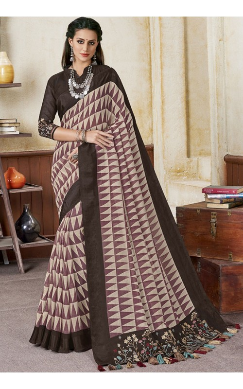 Beige and Pink Linen Party Wear Saree