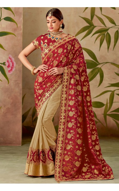 Beige and Red Designer Embroidered Saree