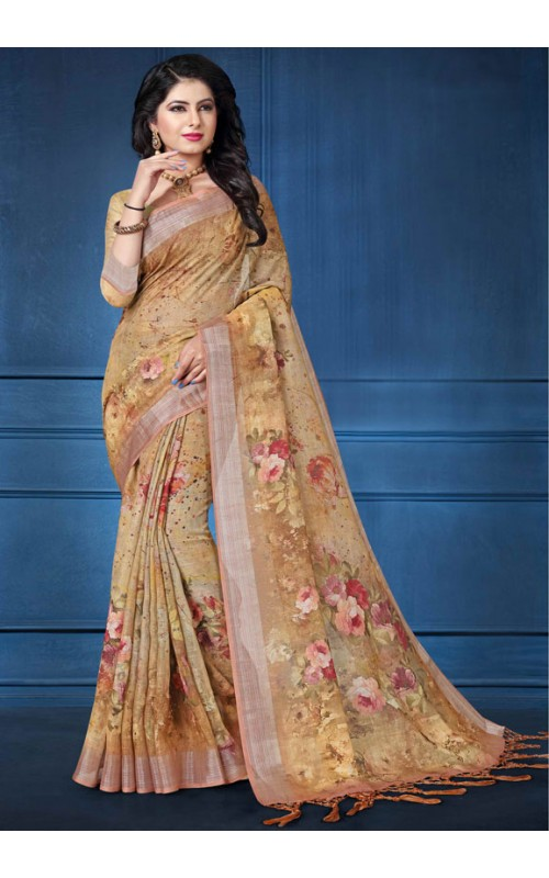 Beige Digital Printed Saree