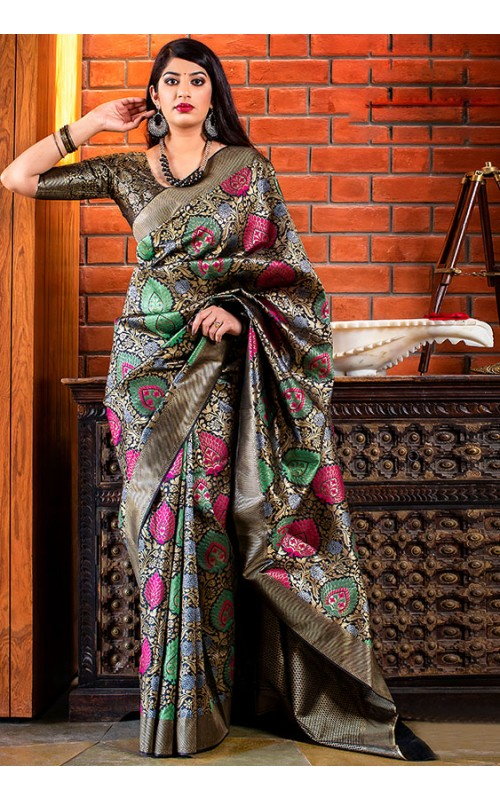 Black and Golden Banarasi Silk Saree