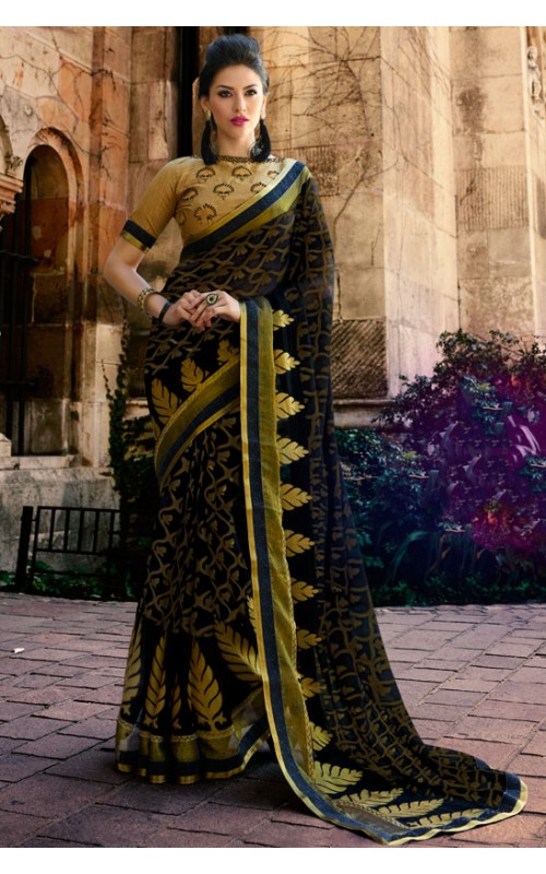Black Brasso Printed Saree