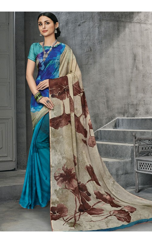 Blue and Cream Georgette Saree