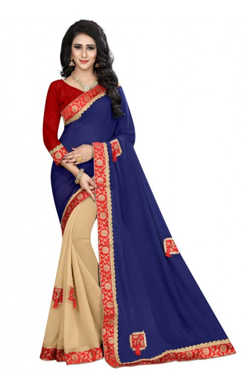 Blue and Cream Half n Half Faux Georgette Saree