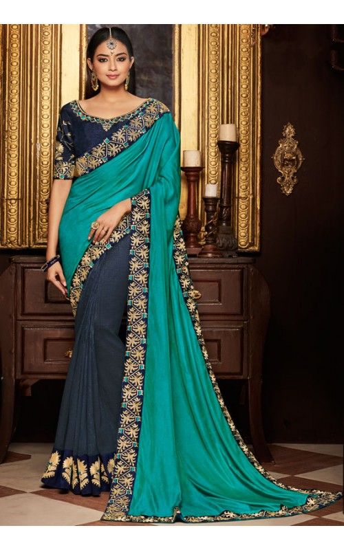 Blue and Firozi Heavy Embroidered Border Saree