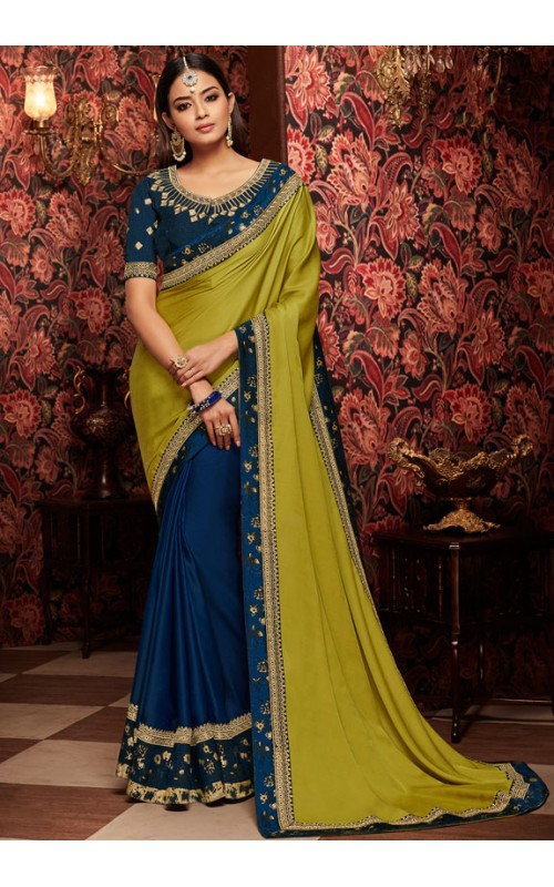 Blue and Green Heavy Embroidered Border Saree