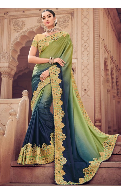 Blue and Green Shaded Satin Heavy Embroidered Saree