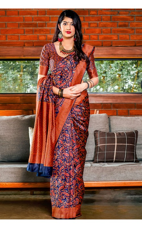 Blue and Orange Banarasi Silk Saree