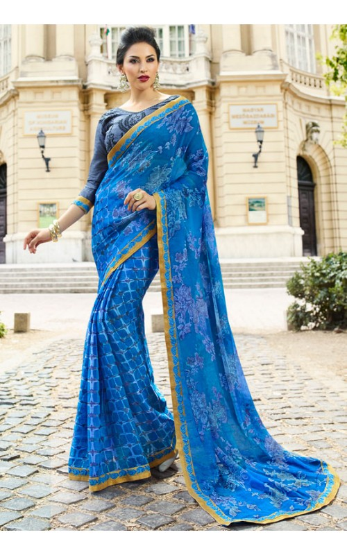Blue Brasso Printed Saree