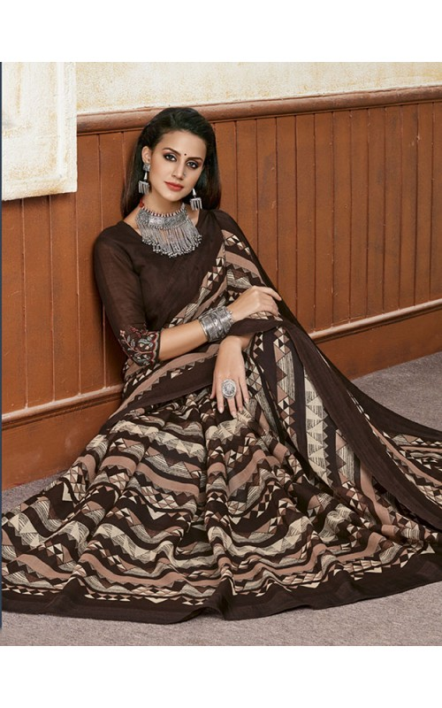 Coffee Linen Party Wear Saree