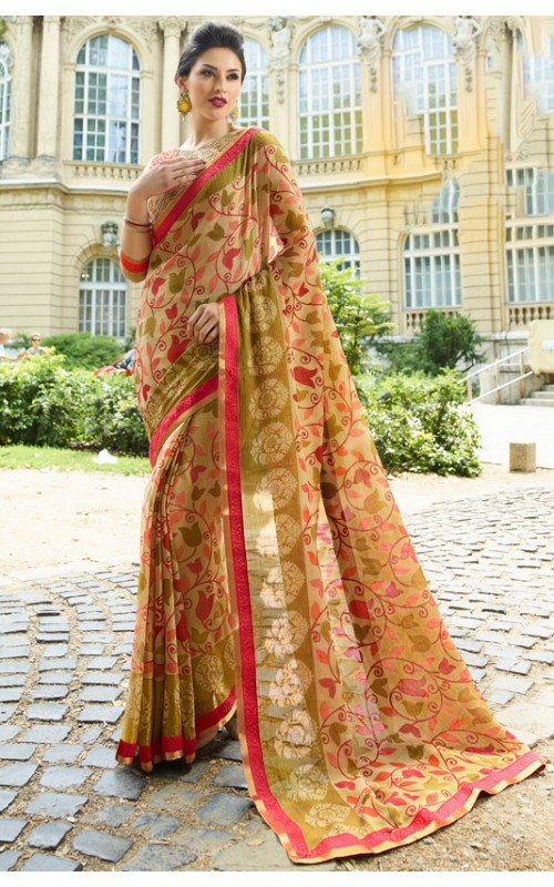 Cream Brasso Printed Saree