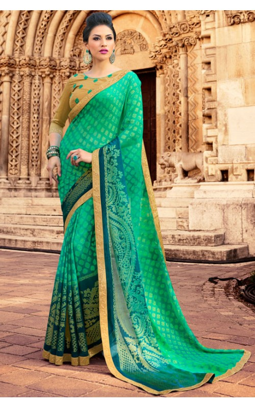 Green Brasso Printed Saree