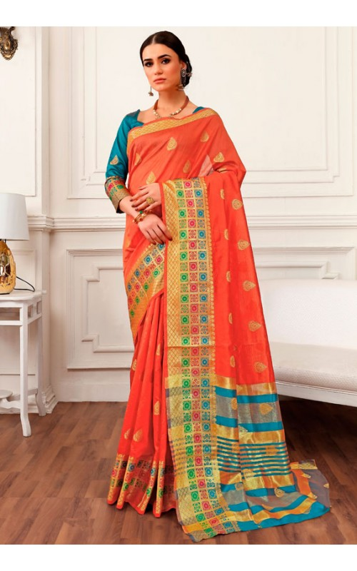 Adorable Orange and Firozi Cotton Silk Saree