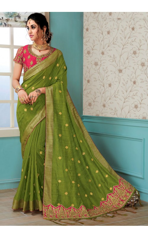 Amazing Green Raw Silk Saree with Readymade Blouse