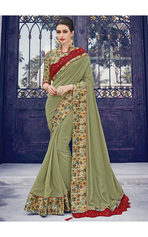 Amazing Olive Silk Saree