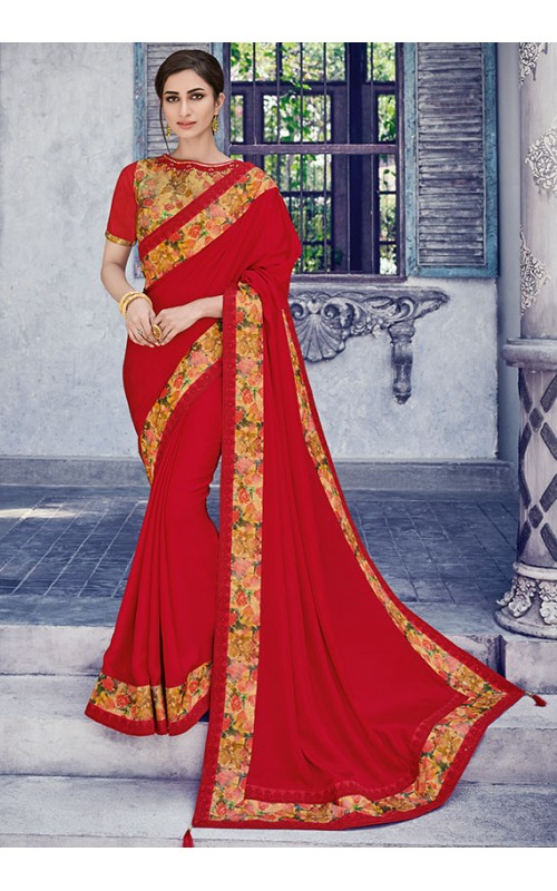 Attractive Red Satin Silk Saree
