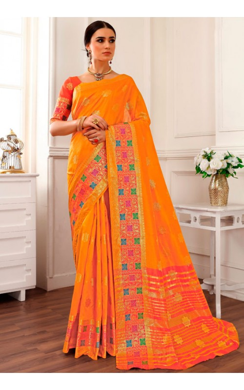 Attractive Yellow Cotton Silk Saree