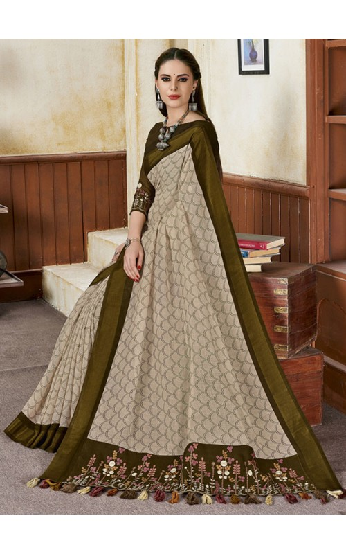 Beige and Green Linen Party Wear Saree
