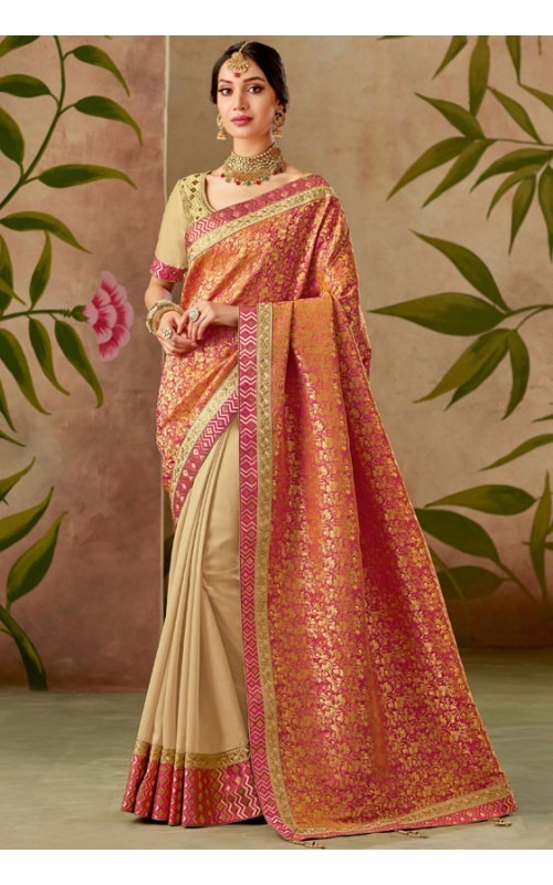 Beige and Orange Designer Embroidered Saree