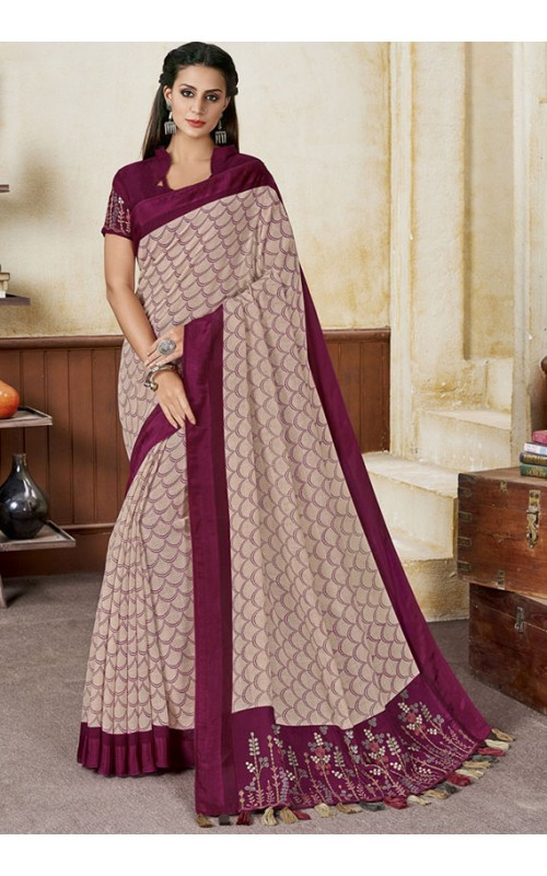 Beige and Plum Linen Party Wear Saree